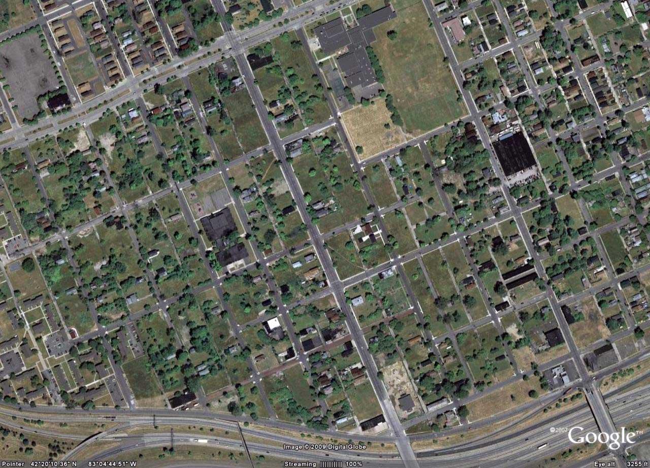 Il centro di Detroit nel 2010 con le aree verdi derivanti dalla demolizione d'interi isolati urbani